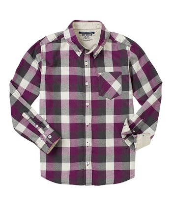 Eggplant & Gray Plaid Button-Up - Boys
