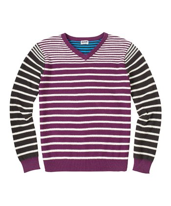 Eggplant & Cream Stripe V-Neck Sweater - Boys