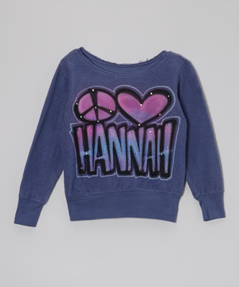 Blue Personalized Peace Love Sweatshirt - Toddler & Girls