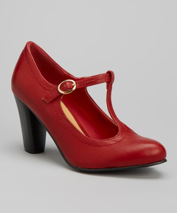 Red Jolie T-Strap Pump
