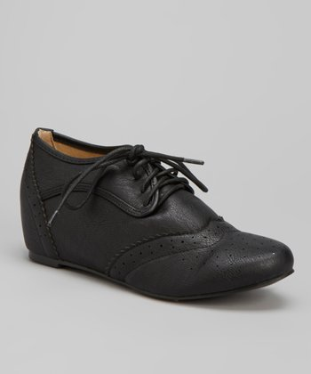 Black Bobby Oxford Wedge