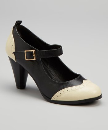 Black Wingtip Dora Mary Jane Pump