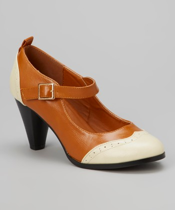 Tan Wingtip Dora Mary Jane Pump