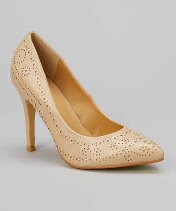 Nude Perforated Carrie Pump