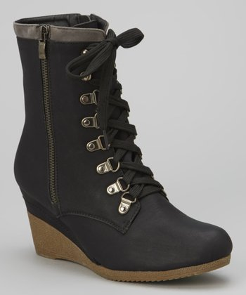 Black Bonnie Wedge Boot