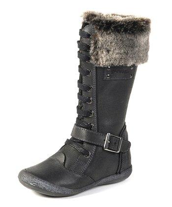garvalin Black Cuff Lace-Up Boot