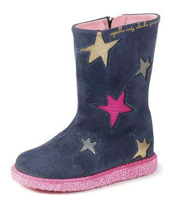Navy Suede Star Boot
