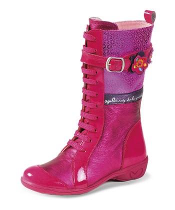 Agatha Ruiz de la Prada Fuchsia Blossom Lace-Up Boot