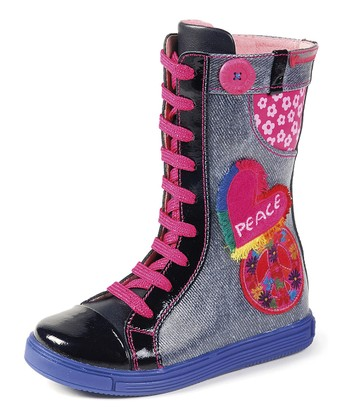 Agatha Ruiz de la Prada Denim Blue Appliqué Sneaker Boot