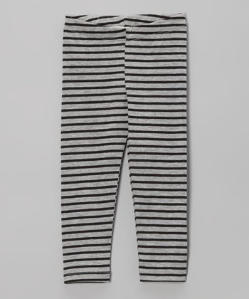 Gray & Black Stripe Leggings - Toddler