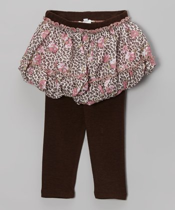 Brown Leopard Skirted Leggings - Infant, Toddler & Girls