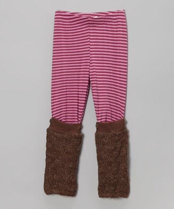 Pink & Brown Leg Warmer Leggings - Infant, Toddler & Girls