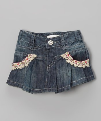 Stonewash Flower Pleated Skirt - Infant, Toddler & Girls