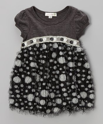 Charcoal Button Babydoll Dress - Infant, Toddler & Girls