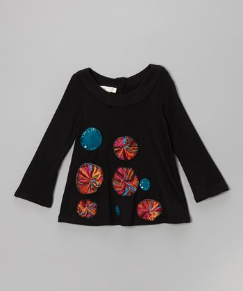 Black Sequin Pinwheel Tunic - Infant & Toddler