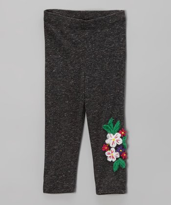 Charcoal Flower Leggings - Infant, Toddler & Girls