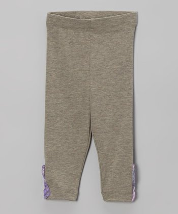Heather Brown Flower Leggings - Infant, Toddler & Girls