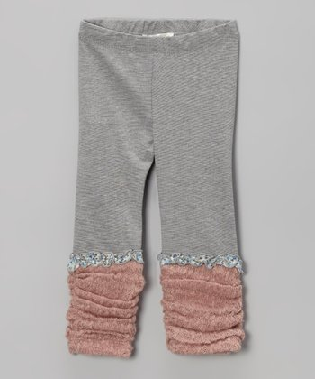 Gray & Pink Ruched Leggings - Infant, Toddler & Girls