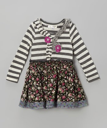 Gray & Berry Stripe Floral Dress - Infant, Toddler & Girls