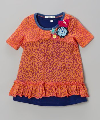 Orange & Navy Leopard Layered Tunic - Infant & Toddler