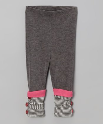 Charcoal Stripe Cuff Leggings - Toddler & Girls