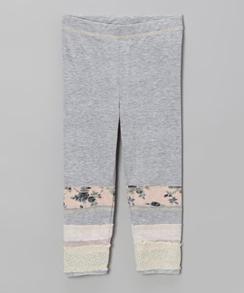 Gray Patch Stripe Leggings - Infant, Toddler & Girls