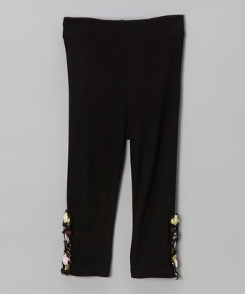 Black Floral Ruffle Leggings - Infant, Toddler & Girls