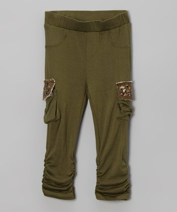 Olive Cargo Pocket Leggings - Infant & Girls