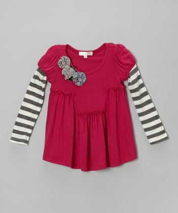 Berry Stripe Layered Tunic - Toddler & Girls