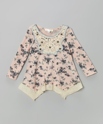 Pink Handkerchief Hem Tunic - Infant, Toddler & Girls