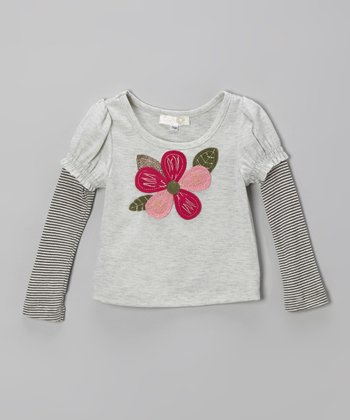Gray Stripe Flower Layered Tee - Infant, Toddler & Girls