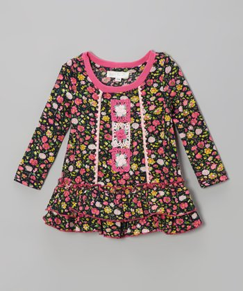Pink Floral Ruffle Tunic - Toddler & Girls