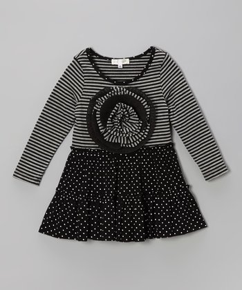 Gray & Black Big Flower Dress - Toddler & Girls