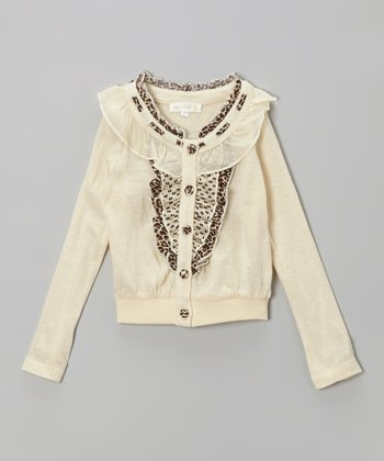 Ivory Leopard Ruffle Cardigan - Infant, Toddler & Girls