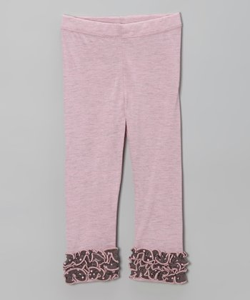 Pink & Gray Ruffle Leggings - Infant, Toddler & Girls
