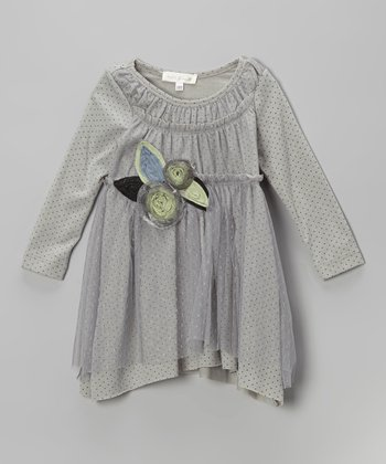 Gray Polka Dot Rosette Dress - Infant, Toddler & Girls