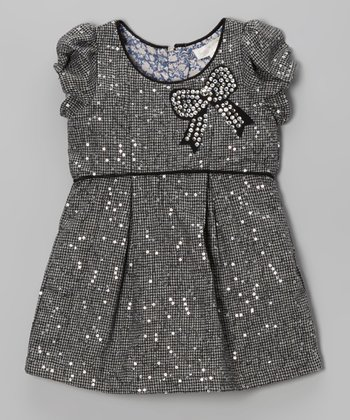 Gray Sequin Houndstooth Dress - Infant, Toddler & Girls