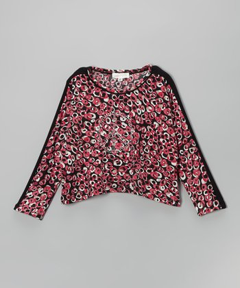 Fuchsia Rhinestone Peace Dolman Top - Toddler & Girls