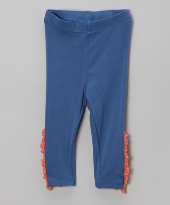Navy & Orange Ruffle Leggings - Infant, Toddler & Girls