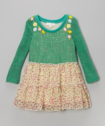 Green Floral Sweater Dress - Infant, Toddler & Girls