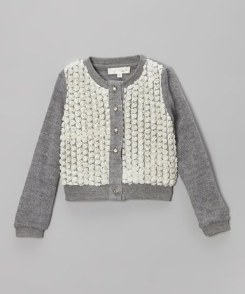 Gray & Ivory Rosette Cardigan - Toddler & Girls