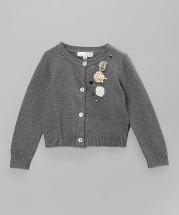 Gray Rosette Cardigan - Infant, Toddler & Girls