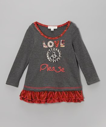 Rust 'Love Peace Please' Tunic - Infant, Toddler & Girls