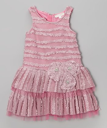 Mauve Tiered Drop-Waist Dress - Infant, Toddler & Girls