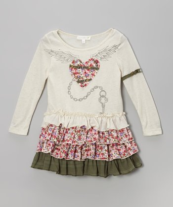 Ivory Floral Heart Drop-Waist Dress  - Infant, Toddler & Girls