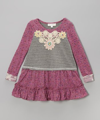 Berry Lace Appliqué Dress - Infant, Toddler & Girls