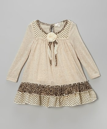 Ivory Rosette Ruffle Dress - Toddler & Girls