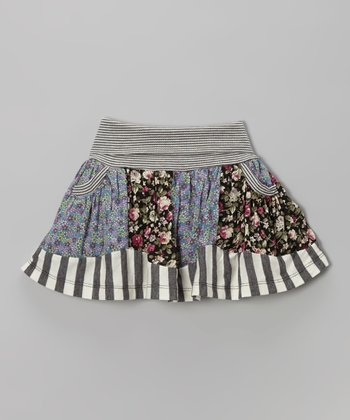 Black Stripe Floral Panel Skirt - Infant, Toddler & Girls