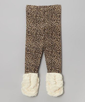Taupe Leopard Furry Cuff Leggings - Infant, Toddler & Girls