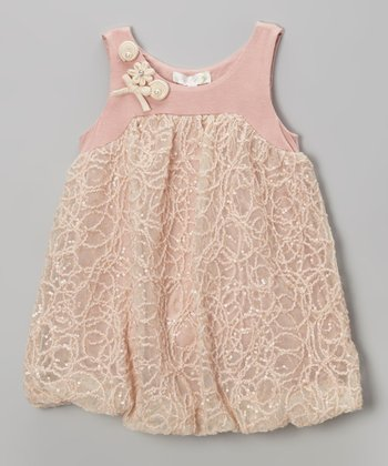 Pink Sequin Embroidered Bubble Dress - Infant, Toddler & Girls